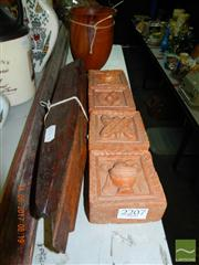 Sale 8362 - Lot 2391 - 4 terracotta weights. 3 building pegs, and a wooden bowl