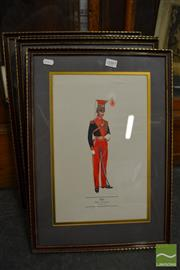 Sale 8458 - Lot 2089 - Framed Prints of Military Men in Uniform (4) incl Royal Horse Guards, 12th Lancers, 11th Light Dragoons, 7th Queens Own Light Dragoon