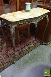 Sale 8523 - Lot 1028 - Travertine Top Hall Table