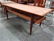 Sale 8908 - Lot 1084 - Teak Coffee Table With Rattan Shelf
