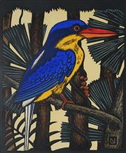 Sale 8907 - Lot 568 - Leslie Van Der Sluys (1939 - 2010) - Paradise Kingfisher and Fan Palm, 1988 39 x 29.5 cm