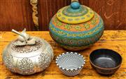 Sale 8942H - Lot 40 - A group of decorative bowls incl beaded, lidded and carved