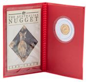 Sale 9012 - Lot 352 - THE AUSTRALIAN NUGGET SERIES 1990 1/20 OZ PROOF GOLD COIN; 5 dollar coin in plastic sleeve with card.