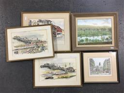 Sale 9123 - Lot 2073 - A group of seven works, including Phillip Martin Scenes of Brighton , Sheffield and Country NSW, various sizes, some signed -