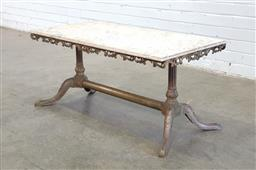 Sale 9151 - Lot 1223 - Metal based marble top coffee table (h:47 x w:100 x d:50cm)