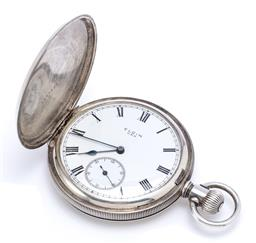 Sale 9194 - Lot 357 - A STERLING SILVER ELGIN FULL HUNTING CASE POCKET WATCH; white dial, Roman numerals, blued hands, subsidiary seconds, stem wind and s...
