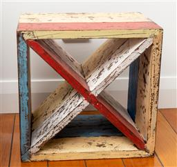 Sale 9191H - Lot 70 - Rustic hand-painted timber side table, H 45 x W 45 cm