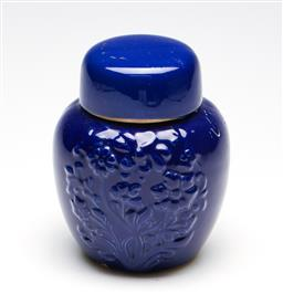 Sale 9253 - Lot 32 - A blue ground ginger jar with relief foliage to body (H:13cm)