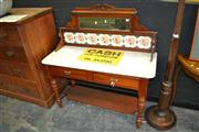 Sale 8117 - Lot 908 - Tiled & Mirrored Back Washstand w Marble Top on Turned Legs