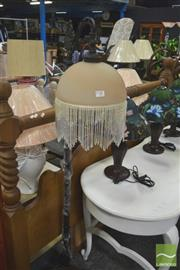 Sale 8272 - Lot 1068 - Glass Hanging Beaded Shade Standard Lamp