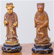 Sale 8284A - Lot 60 - Pair of 17th/18th Century Chinese Ivory Figures, each height 9.5cm.
