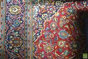 Sale 8282 - Lot 1020 - Persian Kashan Wool Carpet in Red & Blue Tones with Central Medallion (300x200)