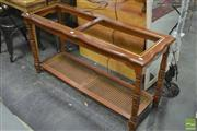 Sale 8289 - Lot 1068 - Hall Table with Rattan Shelf to Base (missing glass inserts)