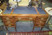 Sale 8345 - Lot 1035 - Late Victorian Figured Walnut Desk, with leather top & seven drawers, on tapering legs