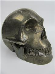 Sale 8431A - Lot 629 - Pyrite Carved Human Skull, Peru