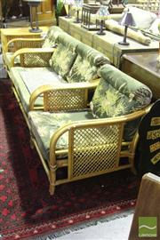 Sale 8499 - Lot 1075 - Cane Three Piece Lounge Setting incl. Two Seater & Pair of Armchairs