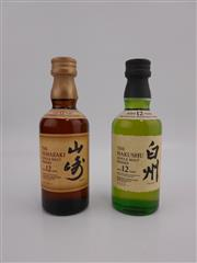 Sale 8514 - Lot 1730 - 2x Suntory 12YO Single Malt Japanese Whisky Miniatures - 1x The Yamazaki Distillery, 1x The Hakushu Distillery, 50ml each