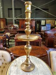 Sale 8598 - Lot 1094 - Large Indian Brass Candlestick, the turned shaft with drip tray