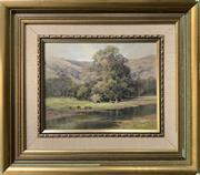 Sale 8668 - Lot 2011 - Fleur Priestly - Cattle by the Creek, oil on board, 37 x 42cm (frame size), s.l.l