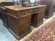 Sale 8697 - Lot 1579 - Australian 19th Century Specimen Twin Pedestal Desk with Huon pine veneer top and fitted with 9 drawers veneers in probably Beef woo...