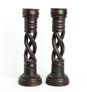 Sale 8844 - Lot 68 - A pair of barley twist carved timber candle stands. Height 53cm.