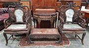 Sale 8939 - Lot 1043 - Pair of Chinese Rosewood and Marble Armchairs, the frames carved in simulated bamboo and grape vines, on cabiole legs with stretcher...
