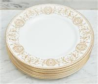Sale 9090H - Lot 39 - A Royal Worcester set of eight dinner plates in the Pompadour pattern. diameter 29cm