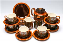 Sale 9098 - Lot 292 - Hornsea brown Bronte tea service for six (chip to 1 cup)