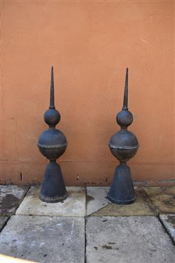 Sale 9135H - Lot 176 - A pair of cast iron finials 92cm height