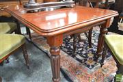 Sale 8282 - Lot 1030 - Victorian Probably Walnut Extension Dining Table, with single leaf & on turned reeded legs (winder in office)