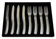 Sale 8372A - Lot 42 - Laguiole by Louis Thiers Organique 8-piece Steak Knife & Fork Set In Matte Finish RRP $250