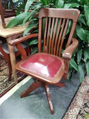 Sale 8601 - Lot 1023 - Timber Captains Chair with Leather Seat