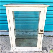 Sale 8649R - Lot 184 - White Painted Timber and Glass Display Case (One broken Glass panel) (H: 66 W: 50 D: 31cm)