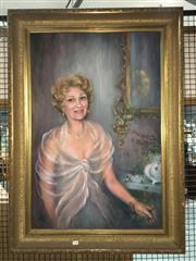 Sale 8659 - Lot 2128 - Artist Unknown - Portrait of Woman, 1982, oil on board, 107 x 77cm (frame size), signed and dated lower left