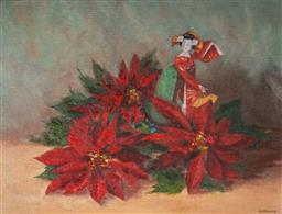 Sale 9096A - Lot 5075 - Henry Pittaway (1904 - 1982) - Japanese Doll & Red Poinsettias 33.5 x 44.5 cm (frame: 45 x 55 x 4 cm)