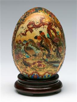Sale 9138 - Lot 141 - Hand Painted Famille Rose Porcelain Egg on Stand, Marked Royal Satsuma (H:14cm)