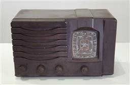 Sale 9215 - Lot 1081 - Art Deco Westminster Brown Bakelite Radio, with four dials - crack to case (h:31 w:50 d:28cm)