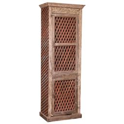 Sale 9216S - Lot 92 - A tall timber cabinet with two doors revealing shelving, with jali front and sides, Height 216cm x Width 75cm x Depth 46cm