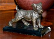 Sale 8015A - Lot 27 - Antique bronze figure of a terrier on original ebonised wood base
