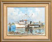 Sale 8274 - Lot 504 - Rhys Williams (1894 - 1976) - Fishing Trawlers in the Harbour 34 x 44.5cm