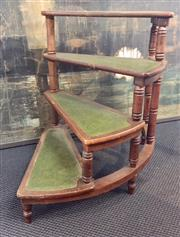 Sale 8319 - Lot 216 - Set of mahogany library steps with leather inserts