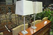Sale 8331 - Lot 1032 - Pair of Turned Timber table Lamps (5615)