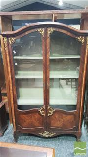 Sale 8375 - Lot 1012 - A Late 19th Century French Kingswood and Marquetry Vitrine, with gilt metal mounts and two full length glazed doors with marquetry p...