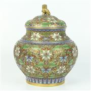 Sale 8412A - Lot 58 - Cloisonne Lided Vase with Foo Dog Finial height - 25cm