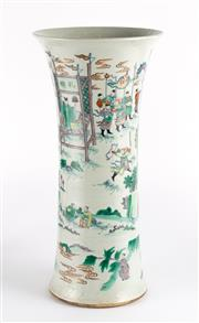 Sale 8536 - Lot 21 - A Ching style famille-verte vase, decorated with figural studies, H 47cm