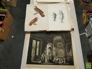 Sale 8548 - Lot 2084 - A Collection of Assorted Early Works on Paper incl. original watercolours, etchings, engravings and lithographs, plus Bird Studies (...