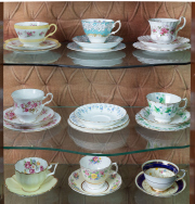 Sale 8677B - Lot 642 - Five trios including Shelley and Royal Albert together with three cups and saucers and sundry plates and saucers.