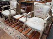 Sale 8745 - Lot 1029 - Pair of French Style Armchairs with Single Footstool (H: 89 W: 58 D: 60cm)