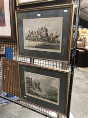 Sale 8850 - Lot 2041 - Pair of Antique Hunting Cartoons Hounds Throwing Off; Coming in at the Death published by  H Humphrey, gilt frames 50.5 x 41cm
