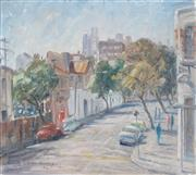 Sale 8870A - Lot 501 - Dora Toovey (1898 - 1986) - Morning Light, Woolloomooloo from Forbes Street, 1969 39 x 42 cm